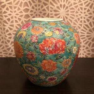 Vintage Bold Blue Floral Print Artistic Vase